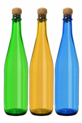 green, brown and blue glass bottle recycling